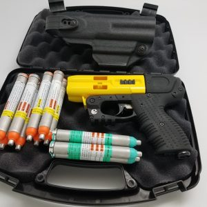 JPX4 4 SHOT PEPPER GUN YELLOW WITH LASER AND LEVEL II HOLSTER BUNDLE